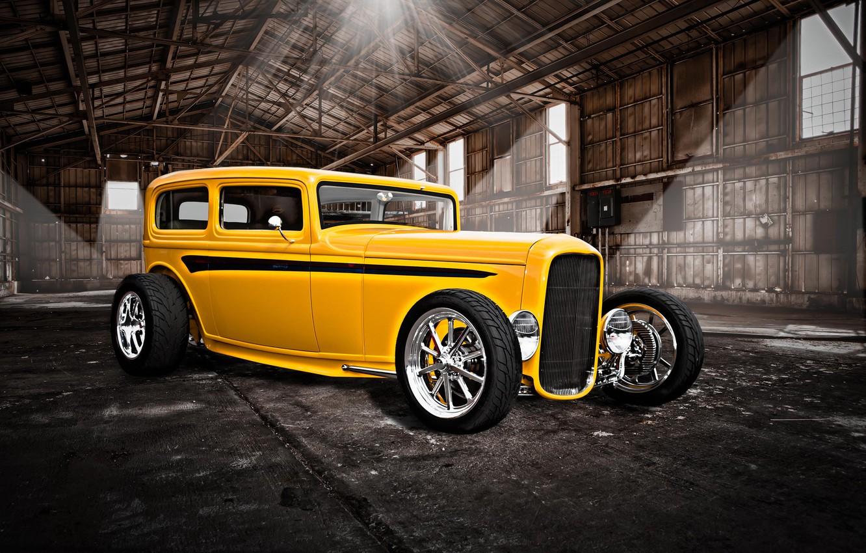 Photo wallpaper yellow, retro, hangar, classic, hot-rod, classic car