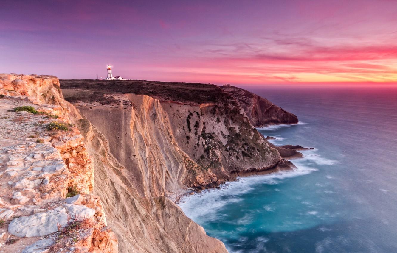 Photo wallpaper the ocean, dawn, coast, lighthouse