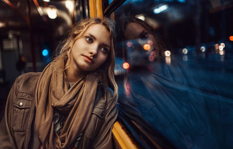 Photo wallpaper sadness, girl, drops, reflection, rain, portrait, window