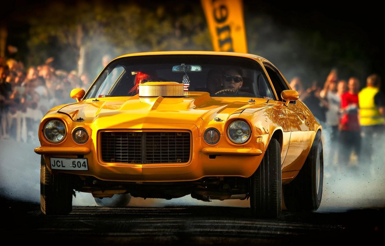 Photo wallpaper yellow, Chevrolet, Camaro, Chevrolet Camaro, 1972 Chevrolet Camaro