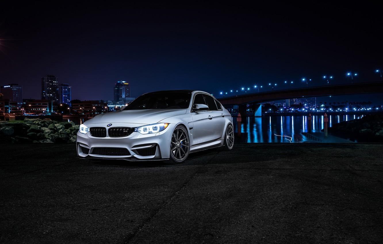 Photo wallpaper BMW, Dark, Front, Bridge, Wheels, Before, Motors, Garde, Vibe, F80