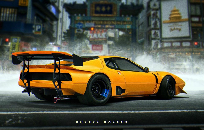 Photo wallpaper Ferrari, Car, Art, Yellow, Future, Khyzyl Saleem