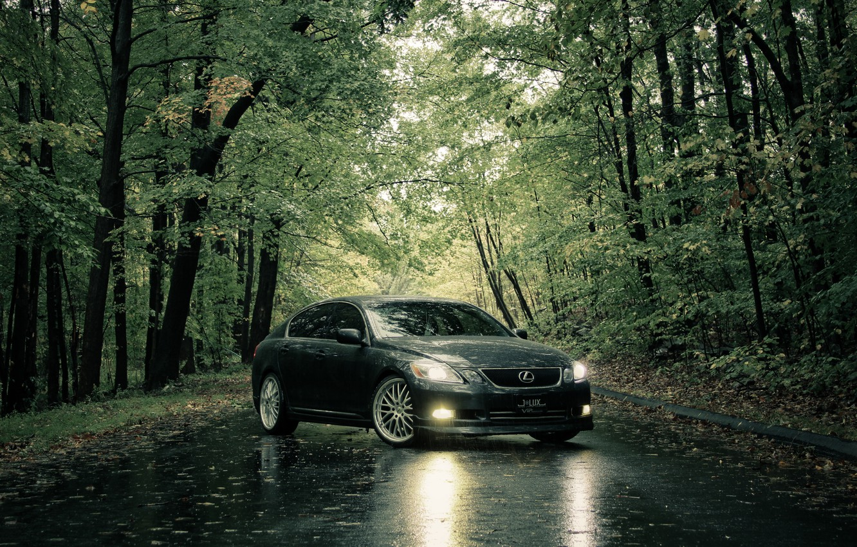Photo wallpaper road, summer, rain, Lexus
