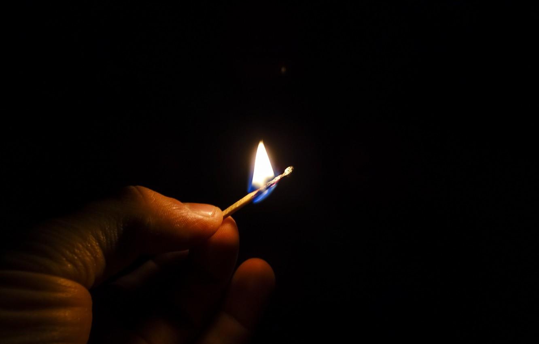 Photo wallpaper light, fire, match