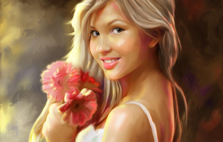 Photo wallpaper girl, flowers, smile, art, blonde