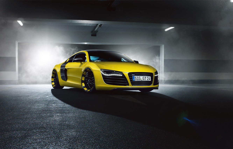 Photo wallpaper Audi, Front, Yellow, Smoke, Supercar, MTM