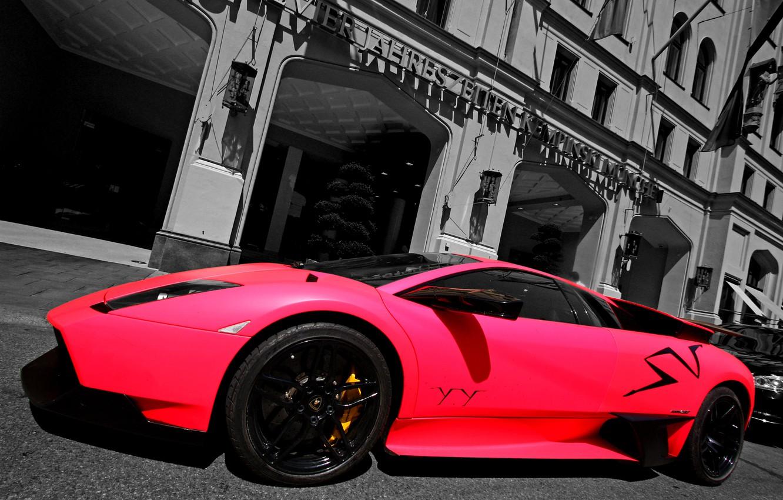 Photo wallpaper pink, street, Lamborghini, supercar, supercar, pink, murcielago, street, superveloce, LP670-4, Lamborghini, building, murciélago