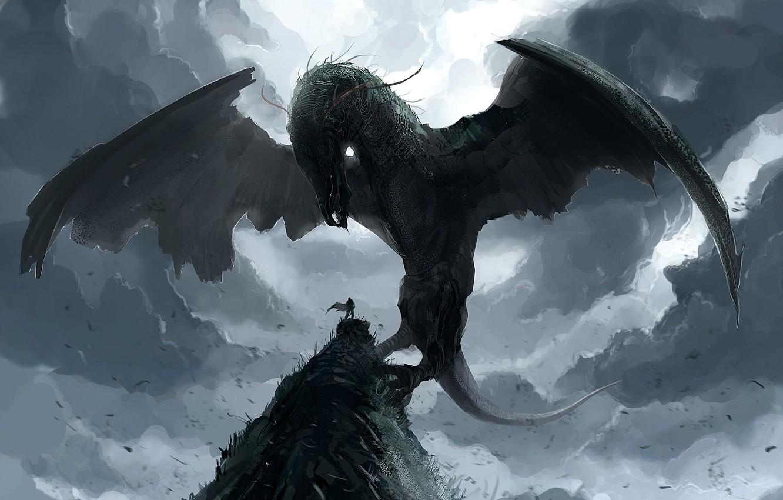 Photo wallpaper rock, dragon, people, wings, power, art, summoning fantasy