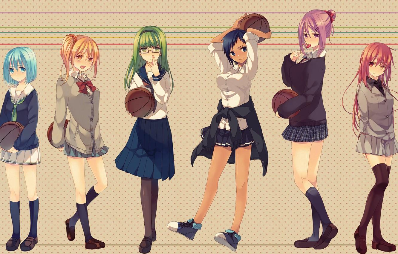 Photo wallpaper girls, the ball, anime, art, glasses, form, Schoolgirls, kuroko from basket, kuroko tetsuya, kuroko's basketball, …