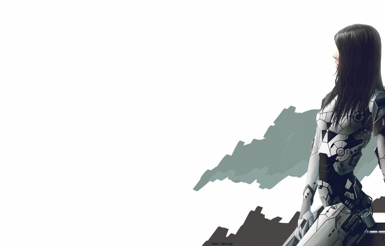 Photo wallpaper Girl, cyborg, simple background