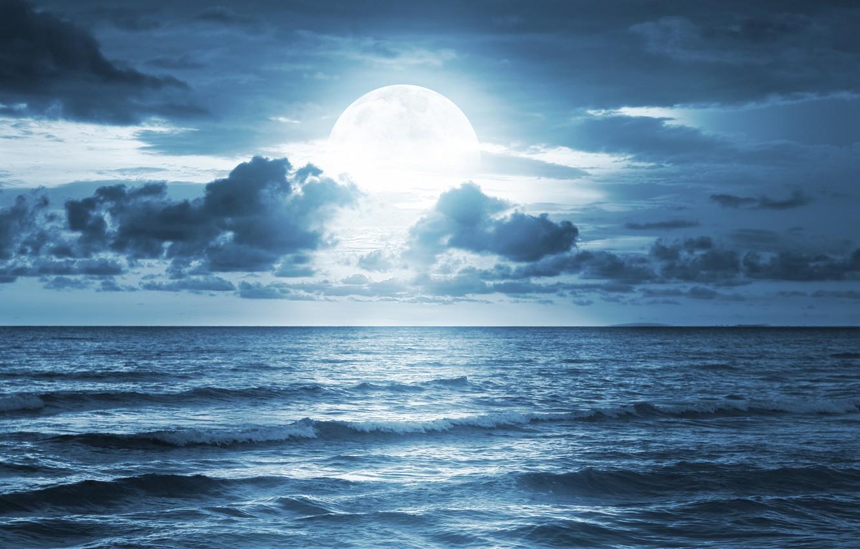 Photo wallpaper sea, the sky, clouds, landscape, the ocean, moonlight, sky, sea, ocean, landscape, clouds, midnight, beautiful …