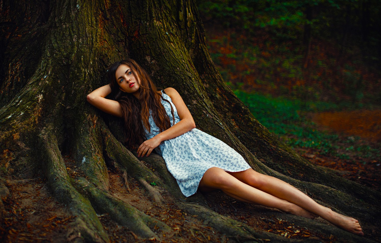 Photo Wallpaper Girl Sexy Beauty Eyes Woman Mood Forest