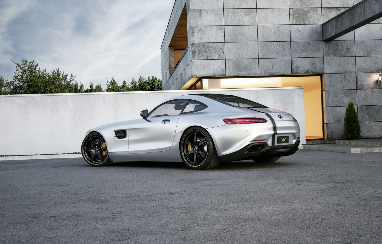 Photo wallpaper Mercedes-Benz, AMG, Wheelsandmore, Silver, Rear, Tuned, 600HP