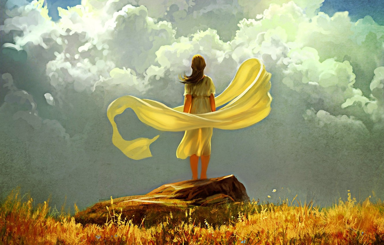 Photo wallpaper autumn, the sky, grass, girl, clouds, the wind, stone, art, fabric, yellow