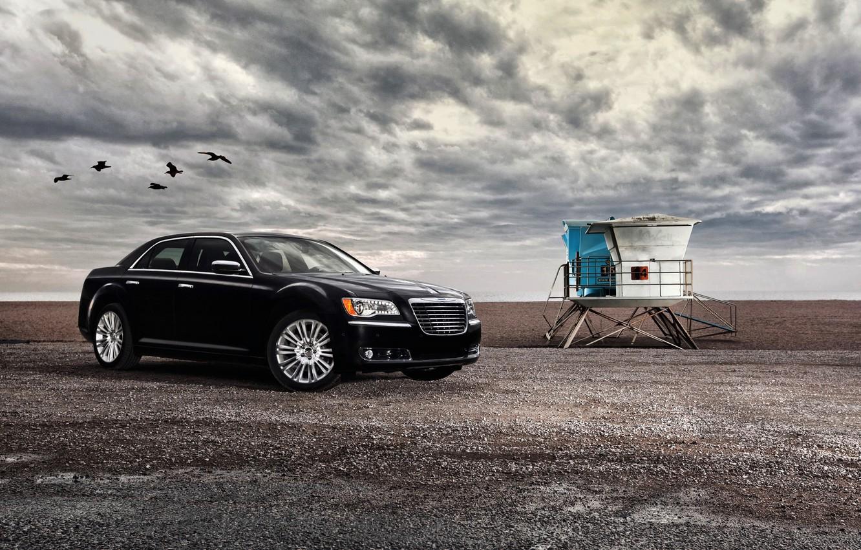 Photo wallpaper Sea, Auto, Black, Chrysler, Machine, Birds, Clouds, Sedan, 300, Overcast