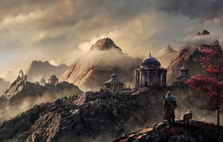 Photo wallpaper clouds, mountains, wolf, petals, temple, traveler