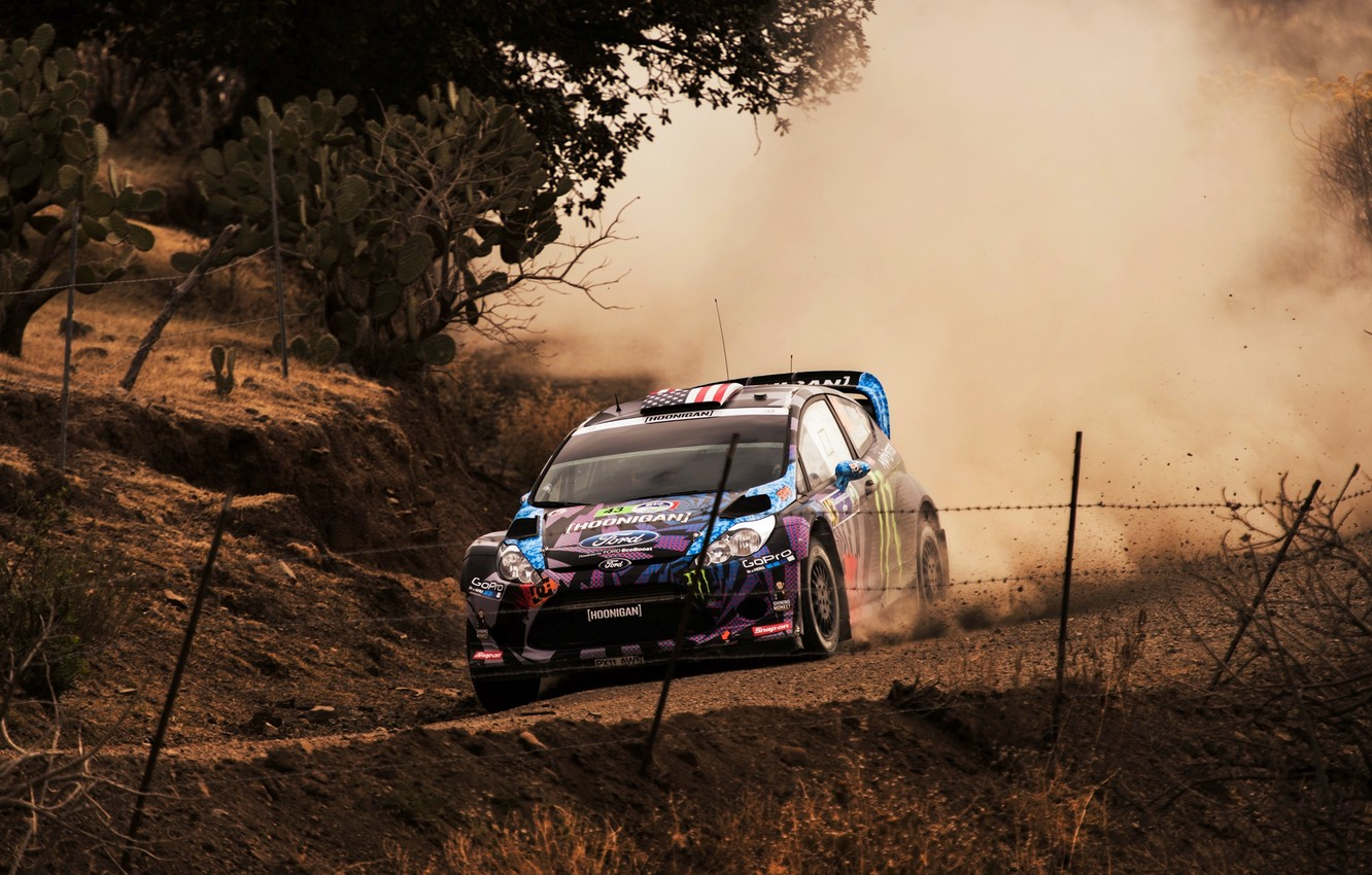 Photo wallpaper Ford, Auto, Dust, Sport, Race, WRC, Ken Block, Rally, Fiesta