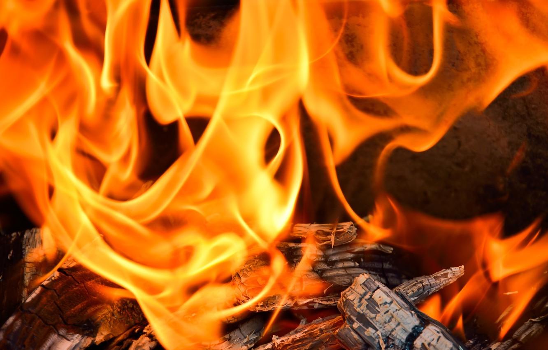 Photo wallpaper fire, flame, heat, wood, fireplace