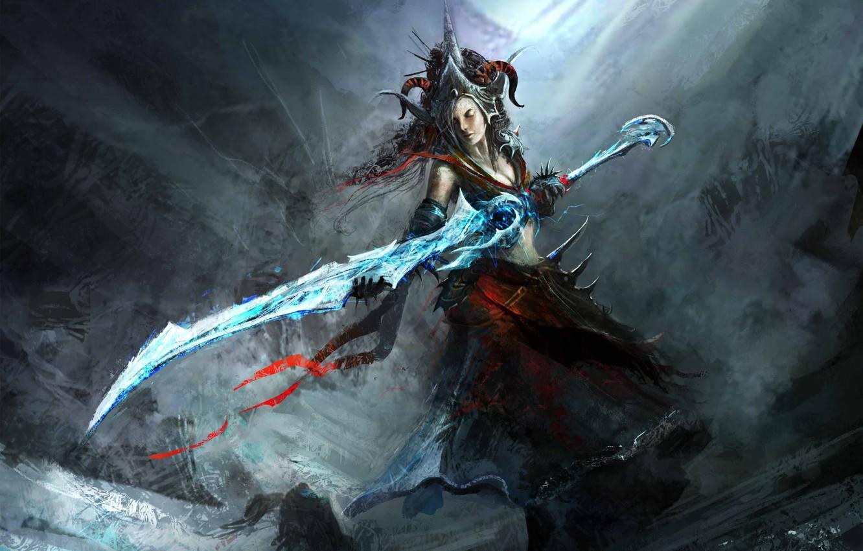 Photo wallpaper cold, girl, weapons, sword, crown, art, horns
