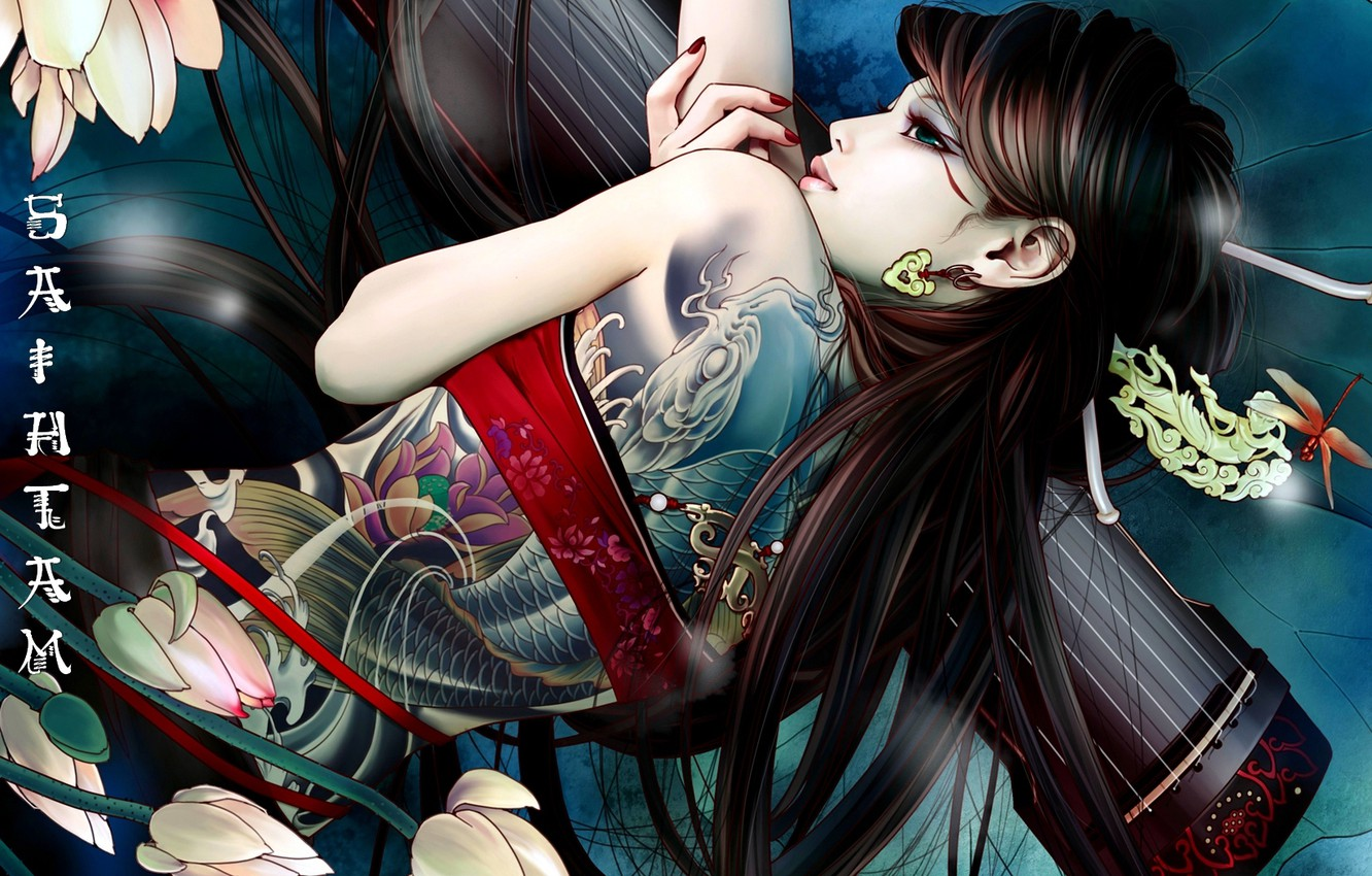 Photo wallpaper Flowers, Girl, Asian, Tattoo, Characters