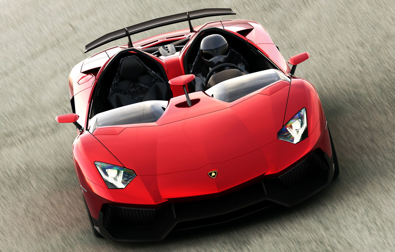 Photo wallpaper red, helmet, lamborghini, spider, aventador