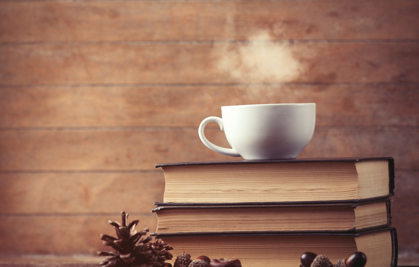 Photo wallpaper books, coffee, Cup, cup, coffee, books