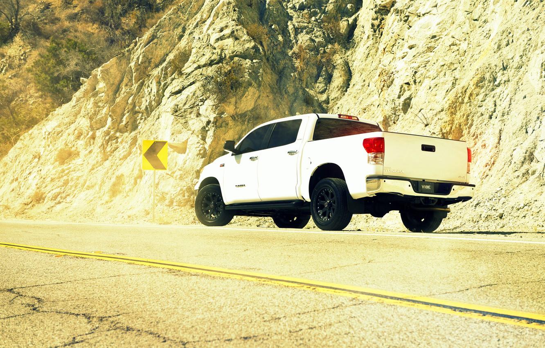 Photo wallpaper desert, white, pickup, toyota, Toyota, tundra