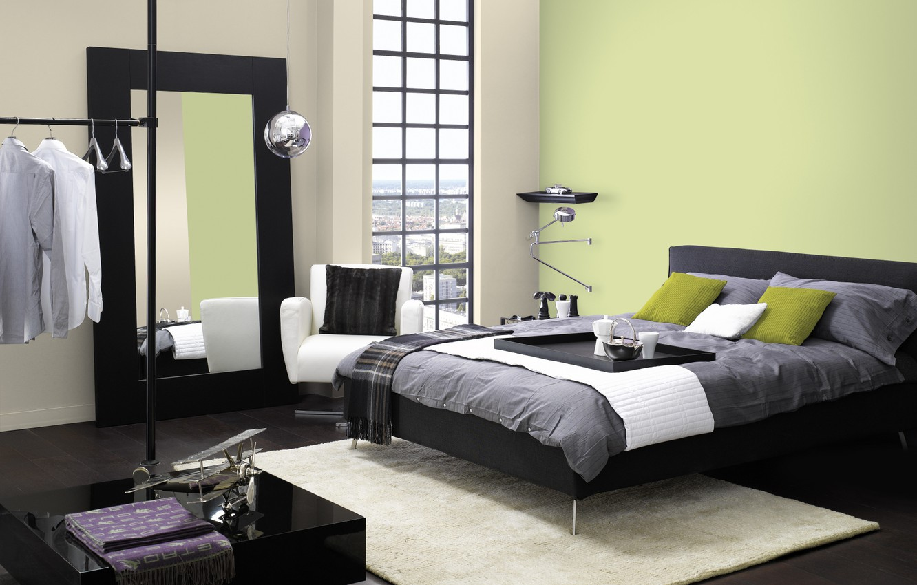 Photo wallpaper design, the city, house, style, room, interior, bedroom