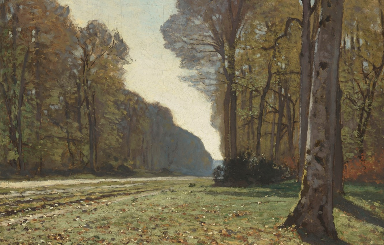 Photo wallpaper landscape, tree, picture, Claude Monet, The road from Chailly