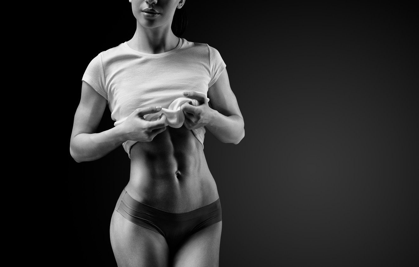Photo wallpaper exercise, fitness, abs, diet, healthy food