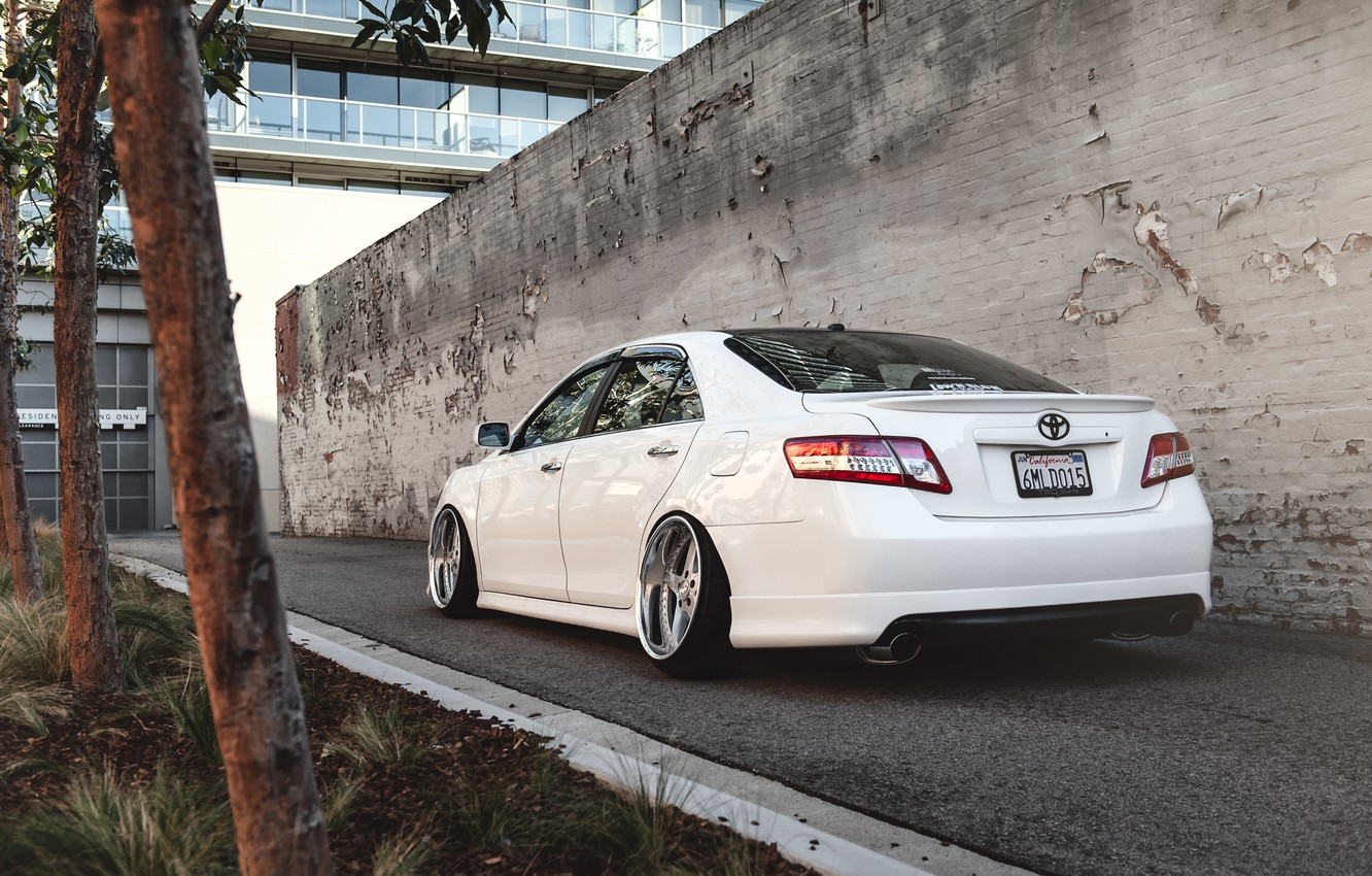 Photo wallpaper white, Toyota, Toyota, Camry, stance, Camry