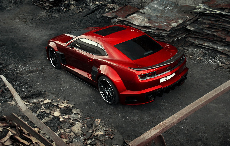 Photo wallpaper car, auto, carbon, supercar, sportcar, red, carbon, Chevrolet Camaro, chrome, Chevy Camaro, rear view from …