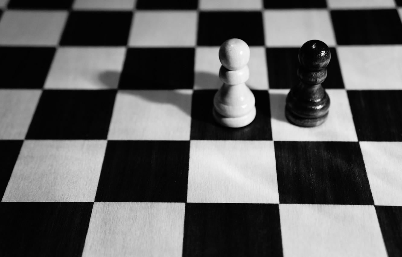 Photo wallpaper chess, Board, white, black, pawns