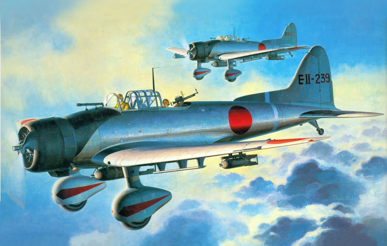 Photo wallpaper the sky, figure, art, bombers, deck, single-engine, dive, the RAID on pearl Harbor, D3-A1 Val, …