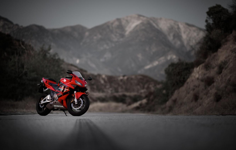 Photo wallpaper road, mountains, red, motorcycle, red, honda, Honda, cbr600rr