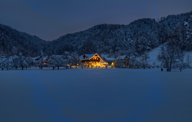 Photo wallpaper winter, night, house