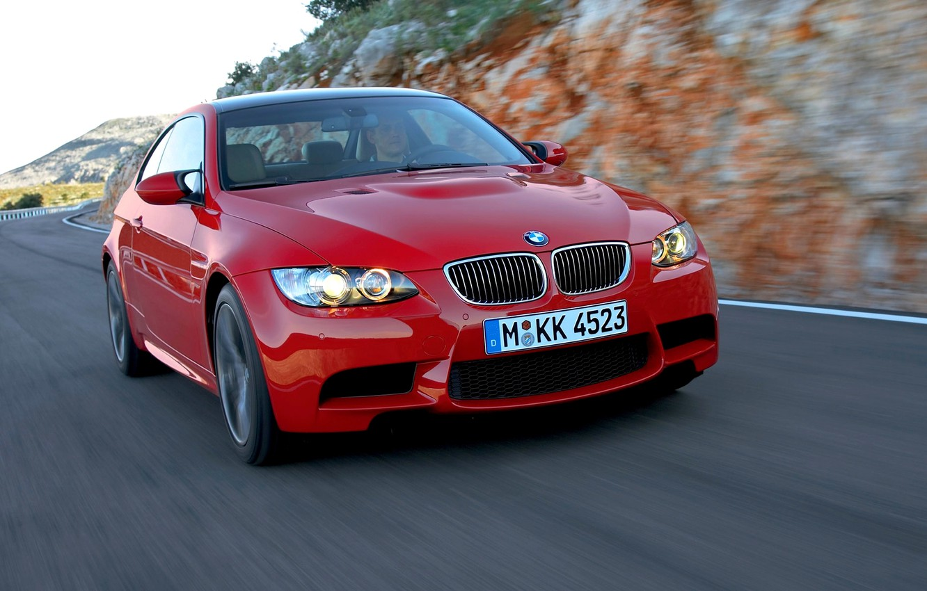 Photo wallpaper Red, Auto, BMW, grille, BMW, The hood, Lights, The front