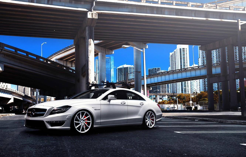 Photo wallpaper Mercedes-Benz, white, Mercedes, AMG, tuning, CLS63, vossen wheels