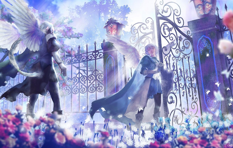 Photo wallpaper flowers, wings, anime, gate, angels, art, guys, lost elle