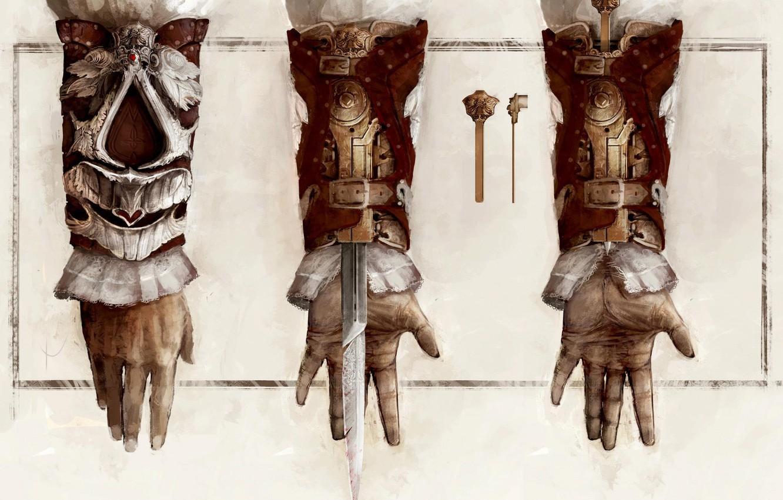 Photo wallpaper figure, mechanism, hand, art, assassins creed, the creed of the assassins, hidden blade