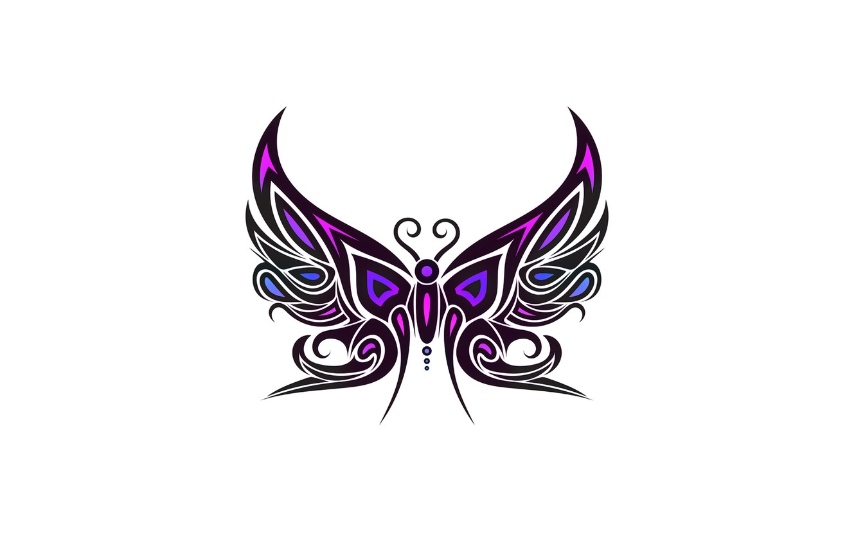 Photo wallpaper purple, butterfly, minimalism, white background, butterfly