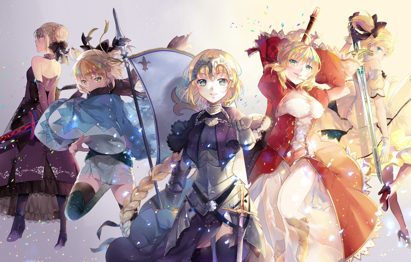 Photo wallpaper smile, weapons, girls, sword, anime, art, saber, saber lily, fate/stay night, saber extra, fate/extra, saber …