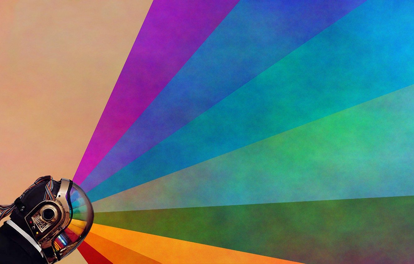 Photo wallpaper rainbow, vector, helmet, daft punk, Guy-Manuel de Homem-Christo