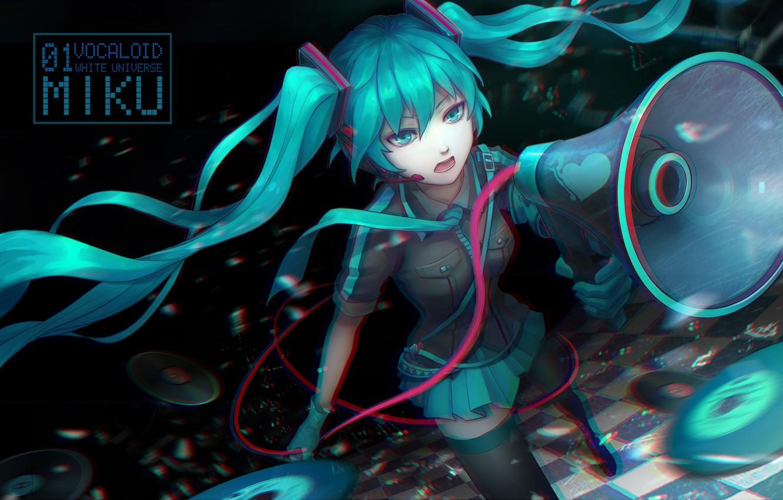 Photo wallpaper girl, anime, headphones, art, microphone, vocaloid, hatsune miku, loudspeaker, koi wa sensou