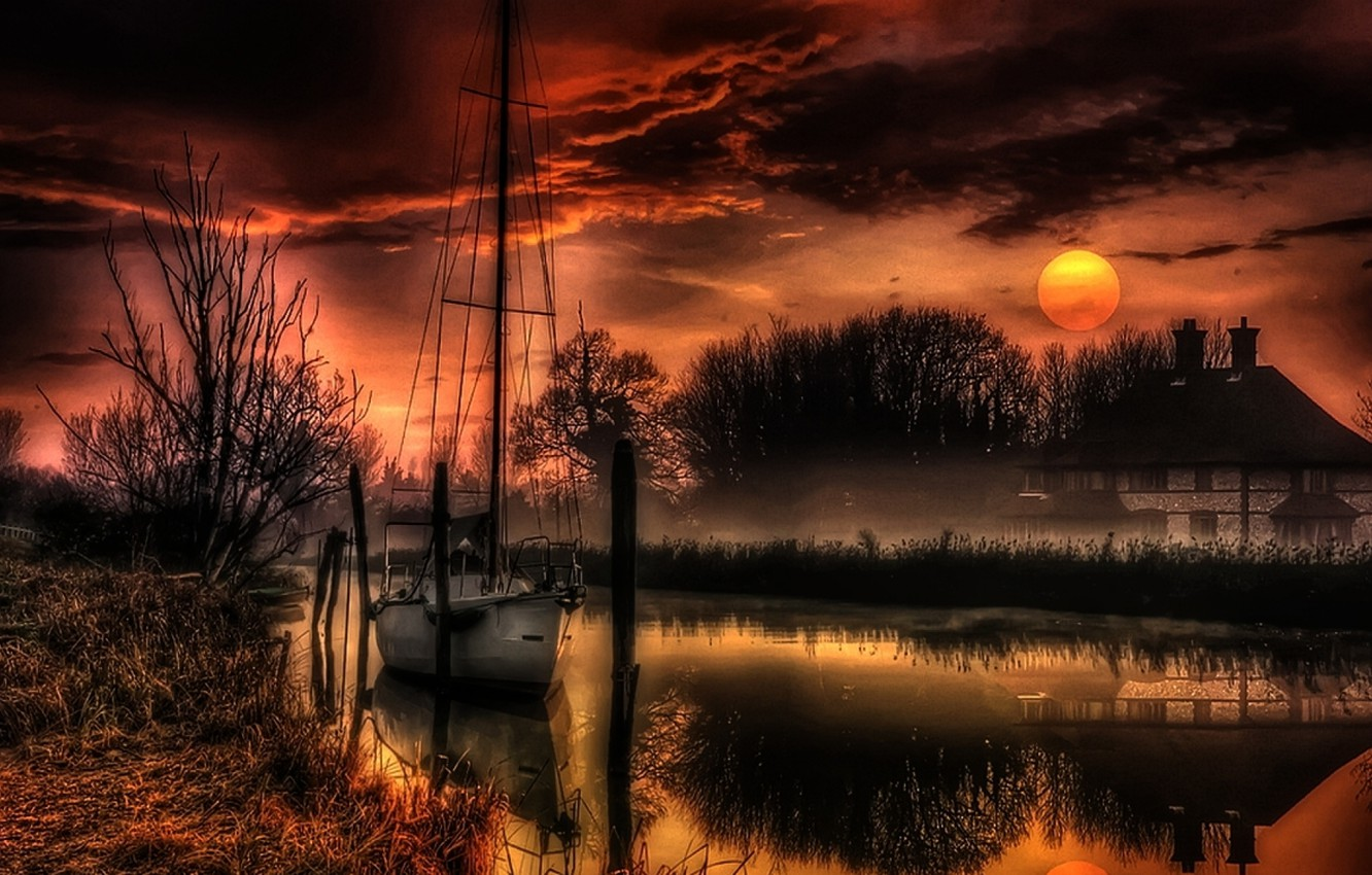 Photo wallpaper landscape, nature, house, river, the moon, the evening, yacht, hdr