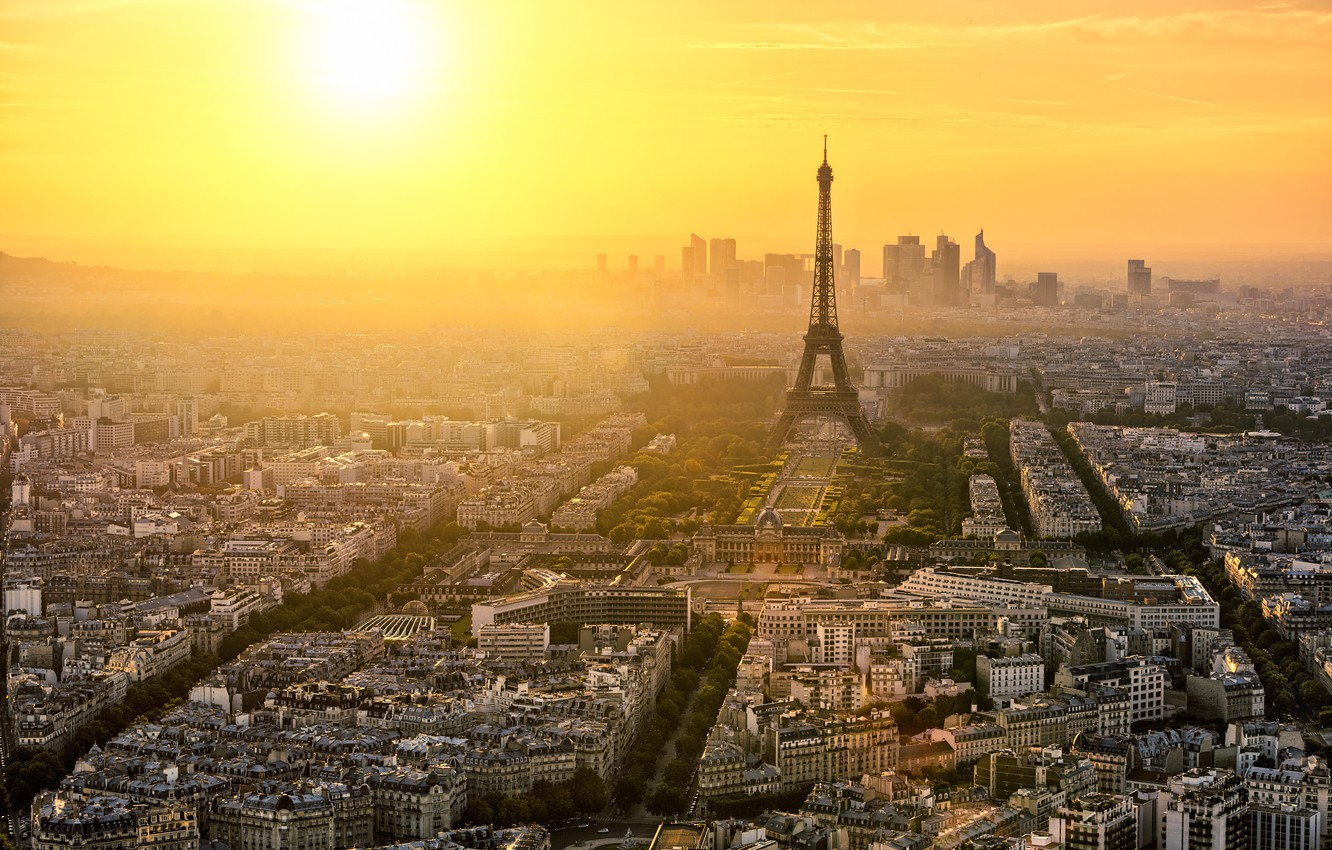 Photo wallpaper trees, the city, dawn, France, Paris, building, road, home, morning, panorama, Eiffel tower, Paris, architecture, …