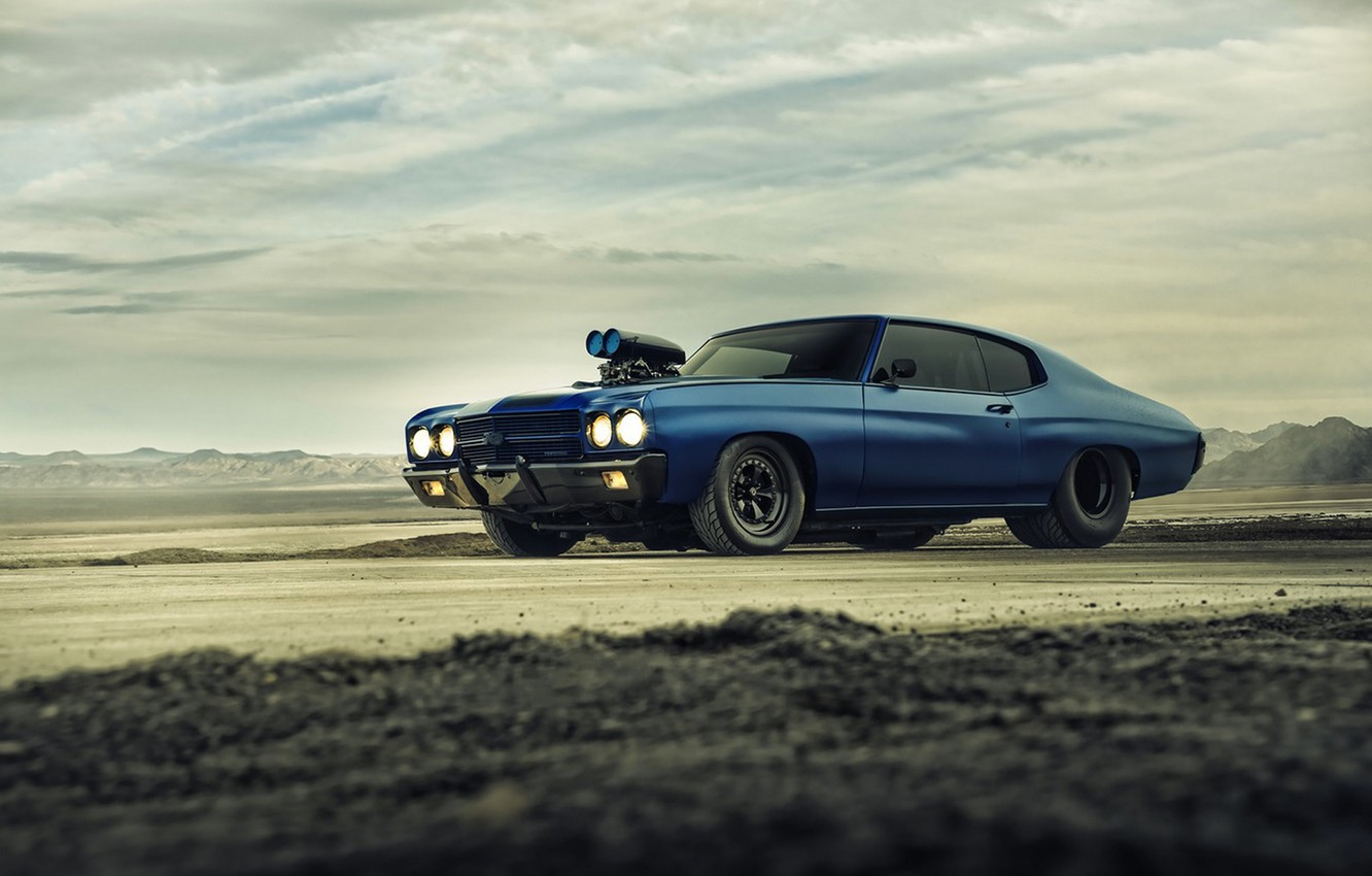 Photo wallpaper Chevrolet, Muscle, Car, Blue, Front, 1970, Chevelle, Supercharger, Dragster