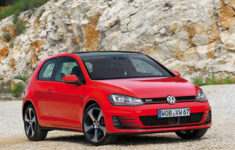 Photo wallpaper machine, Volkswagen, red, the front, Golf, GTI, 3-door