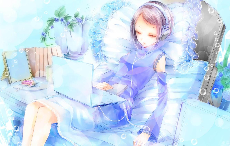 Photo wallpaper girl, the evening, pillow, anime, art, laptop, leisure