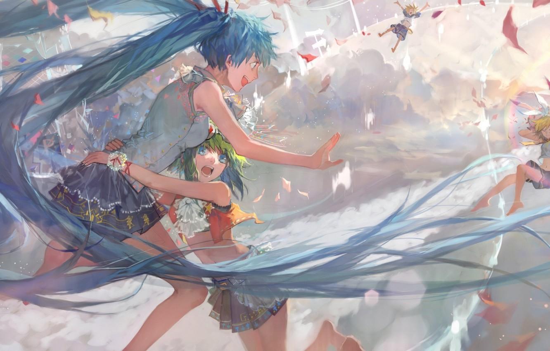 Photo wallpaper the sky, the sun, sunset, girls, anime, art, hugs, guy, vocaloid, hatsune miku, kagamine rin, …